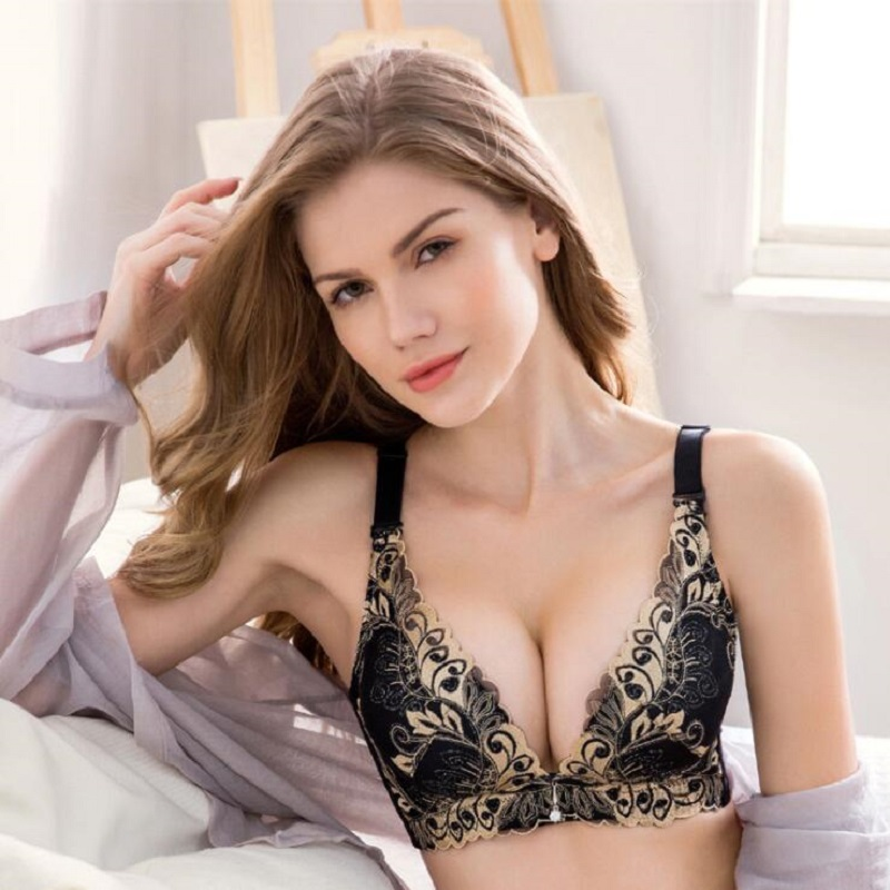 624fbedeb2 Lingerie Embroidery bra set plus size women push up underwear set vs secret  big size bra