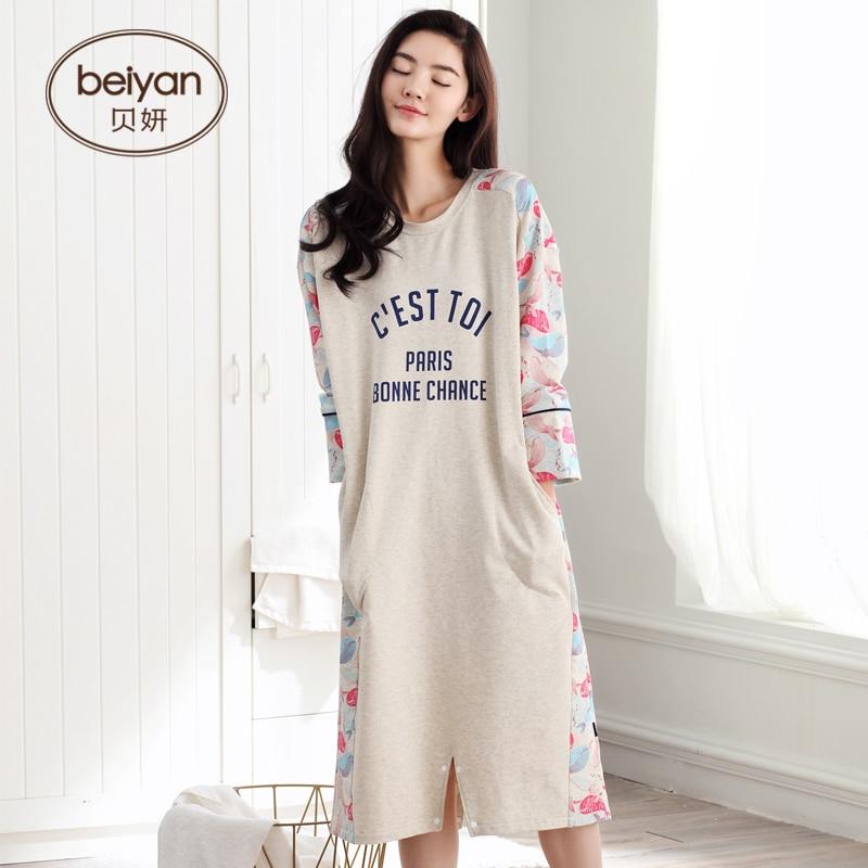 Unterwäsche & Schlafanzug Dame Lange Ärmeln Pyjamas Lose Frau Baumwolle Haushalt Nachthemd Lange Röcke Pyjamas
