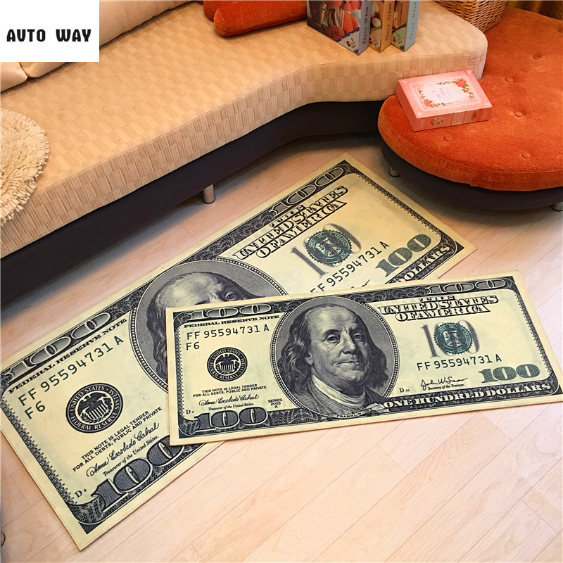Creative Dollar Carpet custom made Clubhouse Cafe mat Bedside mats money pattern rug Non slip floor mats free shipping