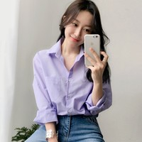 S XL Plus Size Solid purple Women Shirt Long Sleeve Turn down collar Casual Top 2018 New Summer OL Office Work Blouse