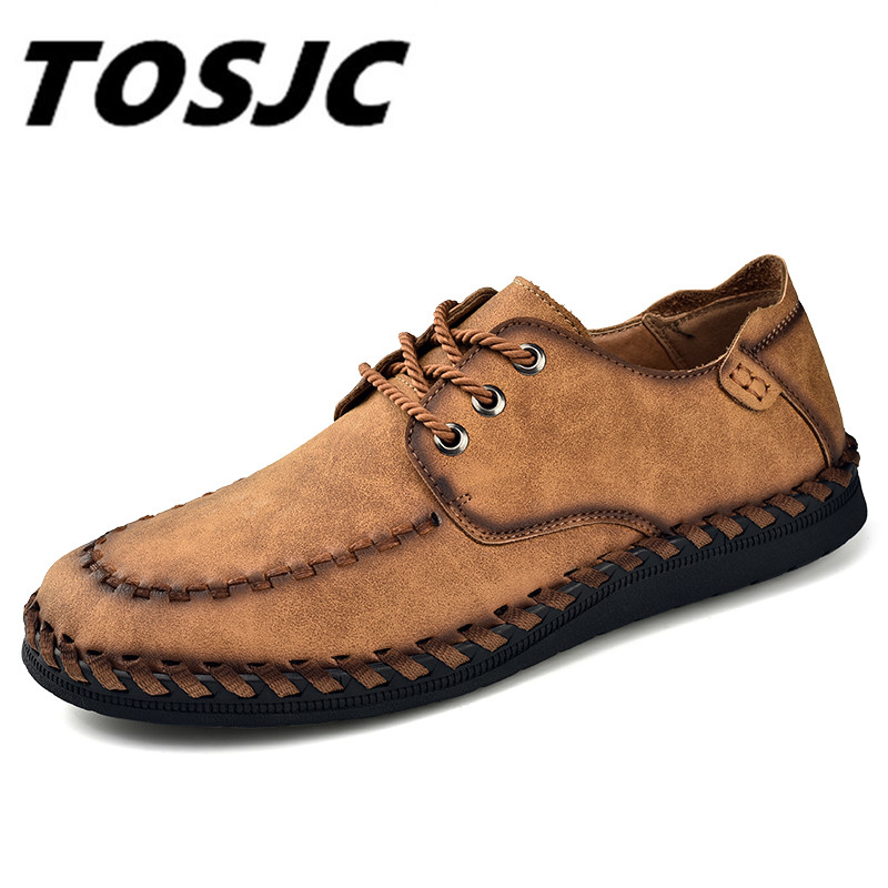 TOSJC New 2018 Fashion Comfortable Breathable Men Casual Shoes Lace-up Solid Split Leather Male Causal Shoes Hot Sale
