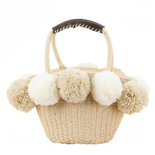 New Summer Pompon Beach Bag Straw Tote Handmade Colorful Fur Hair Ball Shoulder Rattan Large Fashion Women Girls Tassel Bucket