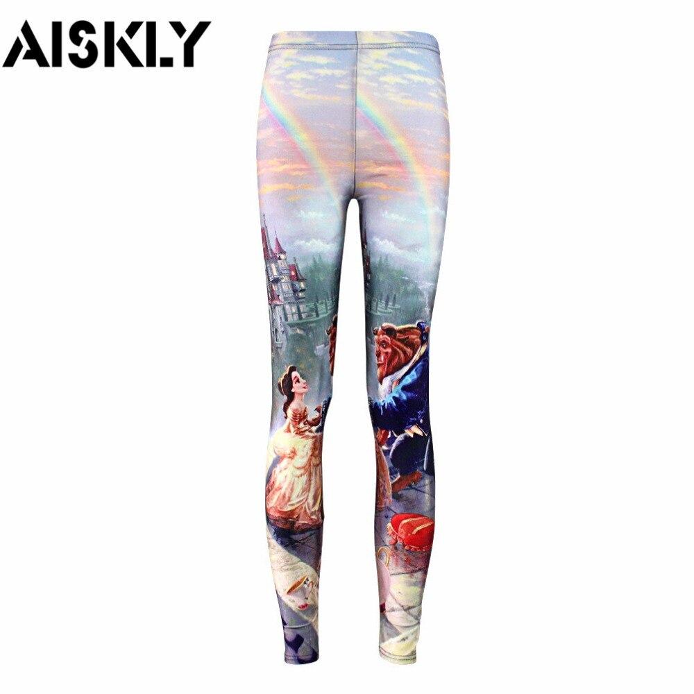 AISKLY Plus size S-4XL Summer leggings 2016 Women Hot Leggings Digital Print Popular Beauty and the Beast Fitness Sexy LEGGING