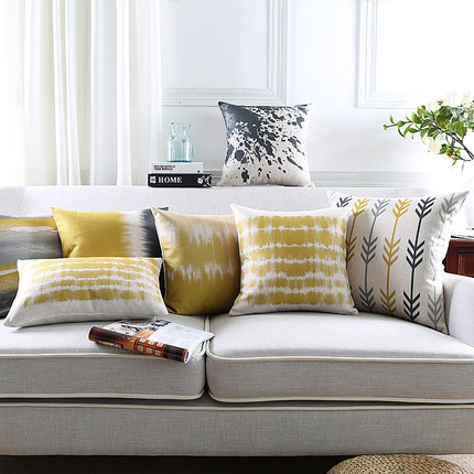 New Linen Pillow Cover Yellow Grey Cushion Cover Nordic