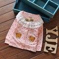 2016 Nova Primavera Outono Polka Dot Dot 100% Algodão Rendas Meninas Bonitos Urso Casacos Cardigan Bebê Crianças Casaco crianças Outwear Casacos