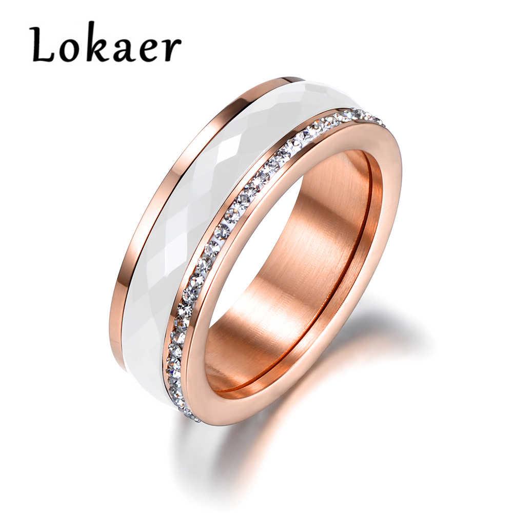 Lokaer clássico titânio aço branco cerâmica anéis jóias cor do ouro zircônia cúbica casamento anéis de noivado para mulher anneaux