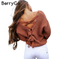 BerryGo Sexy Backless Lace Up Knitting Pullover Casual Autumn Winter Sweater Women Tops Fashion Hollow Out