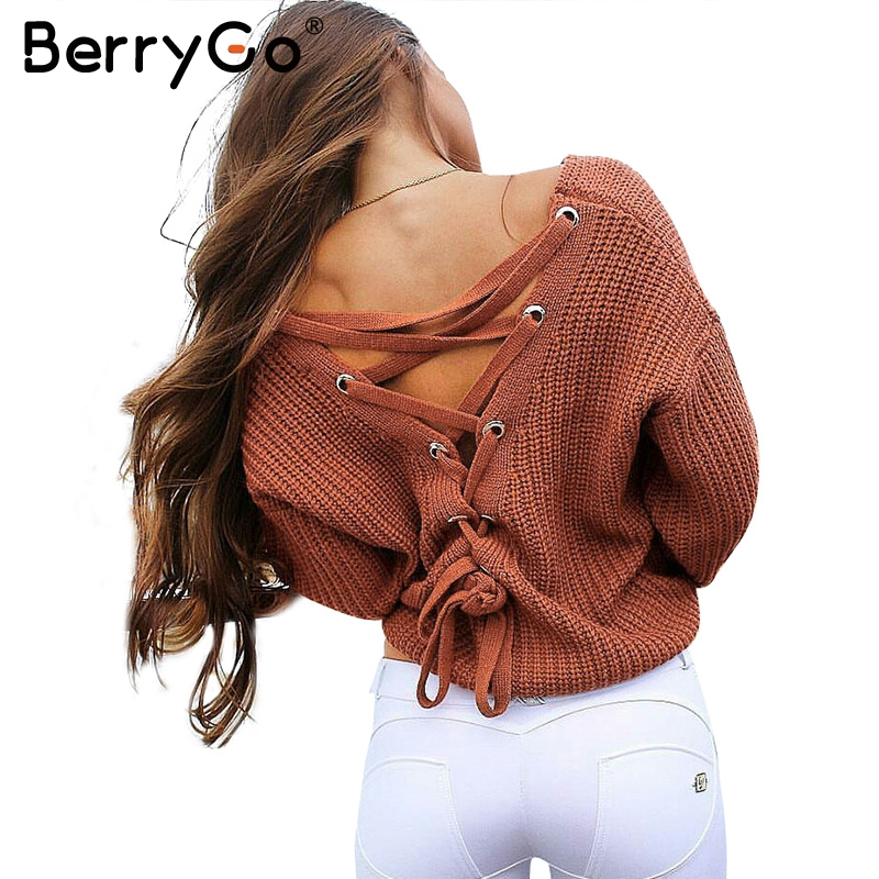 BerryGo Sexy backless lace up knitting pullover Casual autumn winter sweater women tops Fashion hollow out jumper pull femme