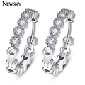NEWSKY Classic Round Hollow Silver Plated Hoop Earrings Punk Rock CZ Stones with Crystal Earrings For Women Jewelry #E1019-1
