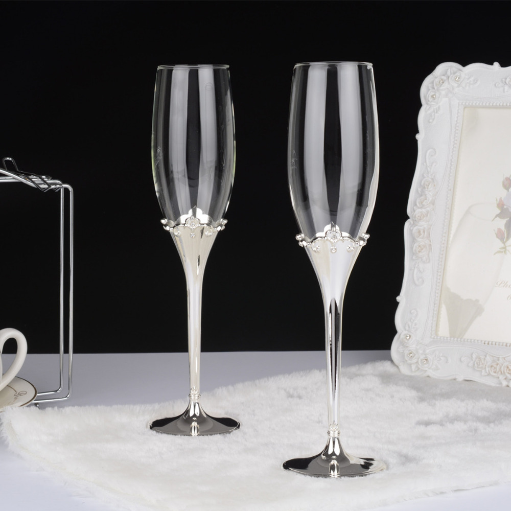 Crown Shape Silver Plated Metal Stem Fashion Toasting Wine Gles Venice Flutes