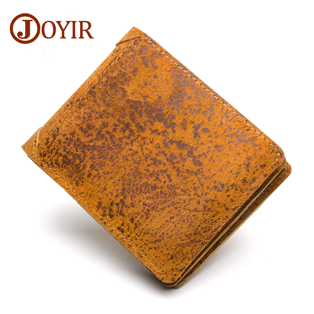 JOYIR Wallet Men Leather Genuine Solid Men Wallets Leather Coin Purse Vintage Card Holder Short Carteira Masculina New 2030 contact s genuine leather men wallet passport cover short male wallet coin purse card holder vintage zipper men wallets carteira