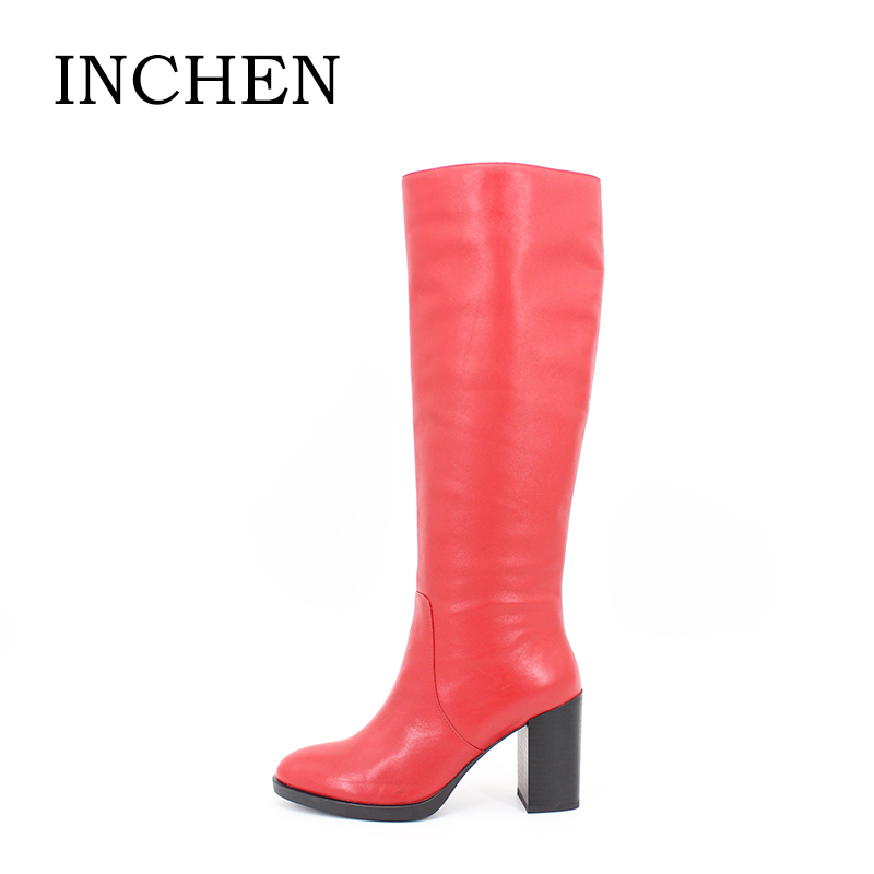 INCHEN Genuine Leather Knee High Boots Red Dark Blue Cow Leather Long Women Boots Super High Thick Heels Zipper Ladies Shoes S37 dark blue 11ct 89 37 f128