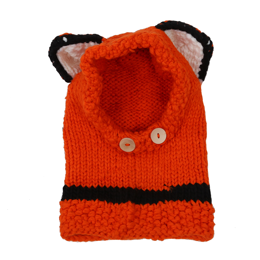 Girls Boys Winter Small Beanie Warm Hat Hooded Scarf Earflap Knitted Cap (Color: Orange)