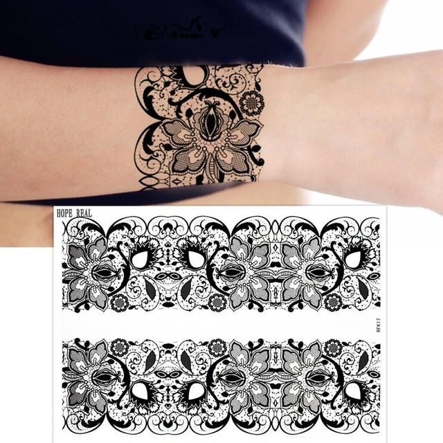 1sheet Black Lace Tattoo Totem Flower Design Henna Tattoo