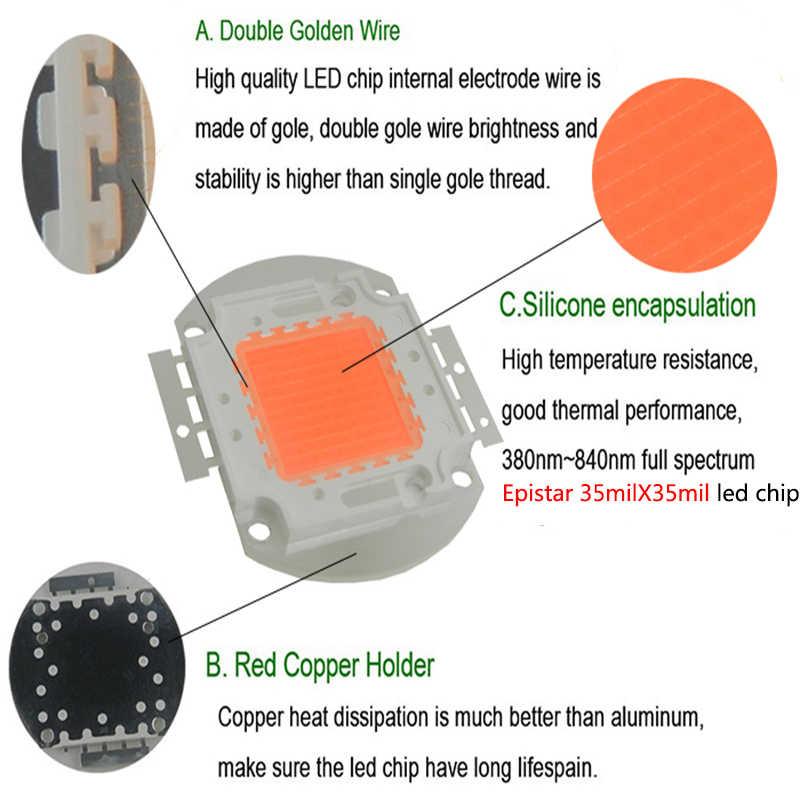 Светодио дный 100 Вт светодиодный растительный чип, 60 шт. Вт x 3 Вт bridgelux, полный спектр 380nm-840nm светодио дный светодиодные лампы для гидропоники, светодио дный DIY светодиодный растительный свет