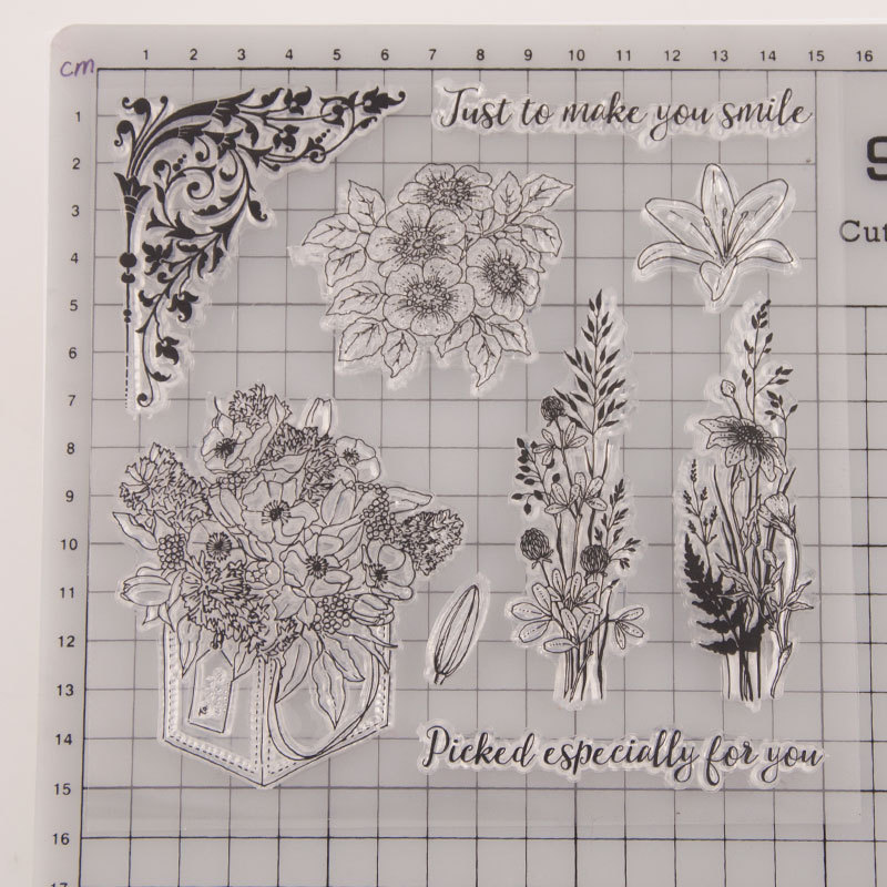 New Design Flowers Stamps Transparent Clear Stamps Silicone Seal for DIY Scrapbooking Card Making Photo Album Decoration Crafts in Stamps from Home Garden