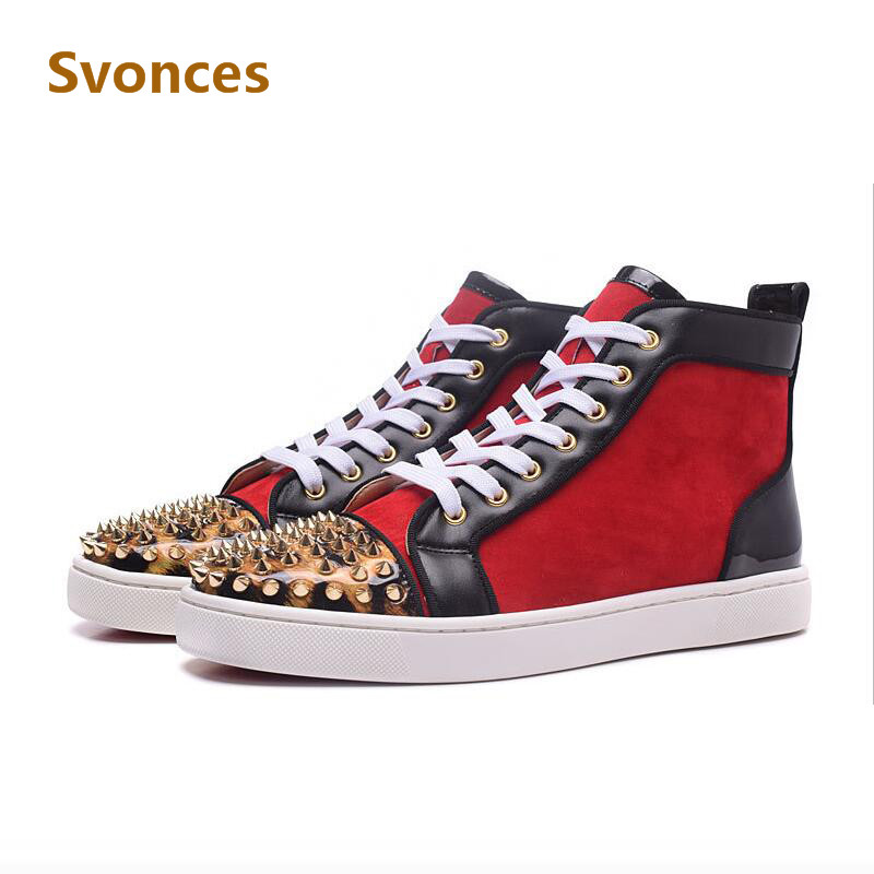 0dc778fbb37 Chaussure Homme Unisex Sequins Golden Spikes Rivets Boots Couple Casual  Bottom Shoes Red Red High Top Luxury Designer Shoes Men