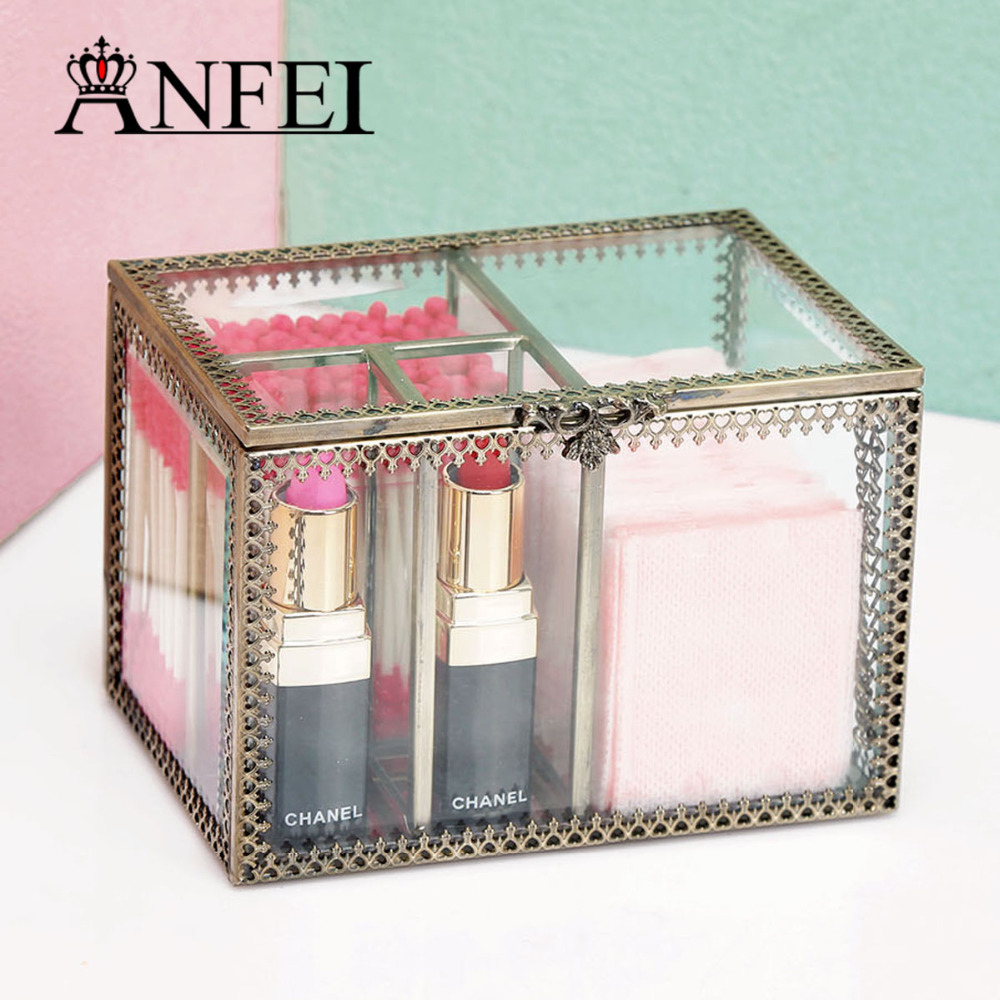 anfei new retro exquisite glass storage box organizer makeup jewelry ring earring storage casket decorative dressing table c218 - Decorative Storage Boxes