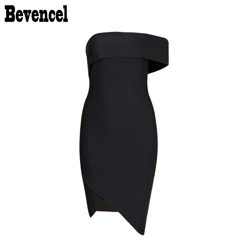 Bevenccel 2018 New Women Sexy One Shoulder Bandage Summer Dress Slash Neck V Split Bodycon Vestidos Bandage Dress Party Dress