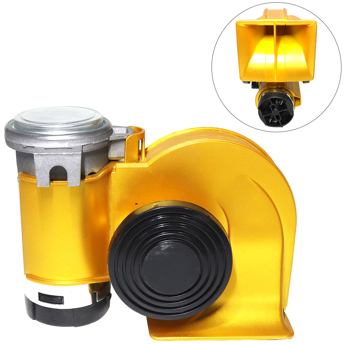 12V 139dB Car Air Horn Snail Compact Dual Multi-tone & Claxon Horns Gold for Vehicle Motorcycle Yacht Boat SUV