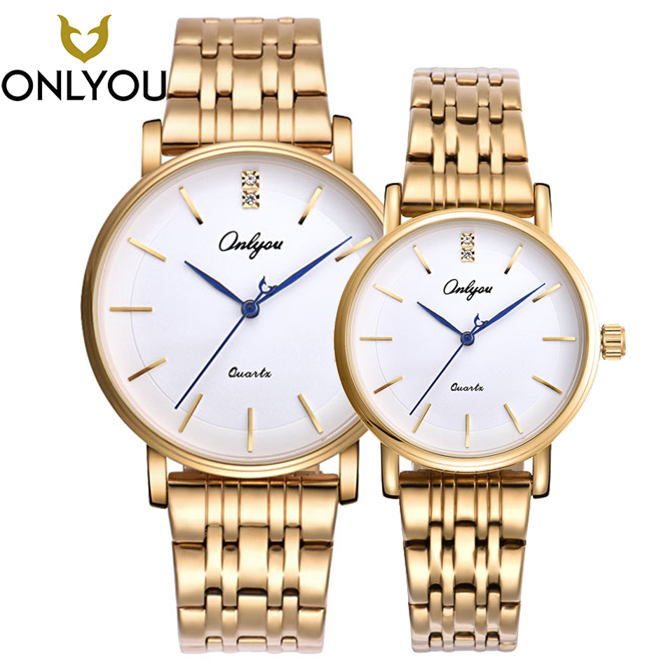 ONLYOU Men Watches Top Brand Luxury Golden Quartz Female Watch Gift Clock Ladies Gold Dress Wristwatch Women charm lovers watch onlyou luxury brand fashion watch women men business quartz watch stainless steel lovers wristwatches ladies dress watch 6903