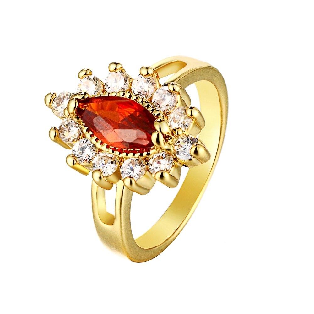 fashion rings imitation gemstone ring 18k gold plated