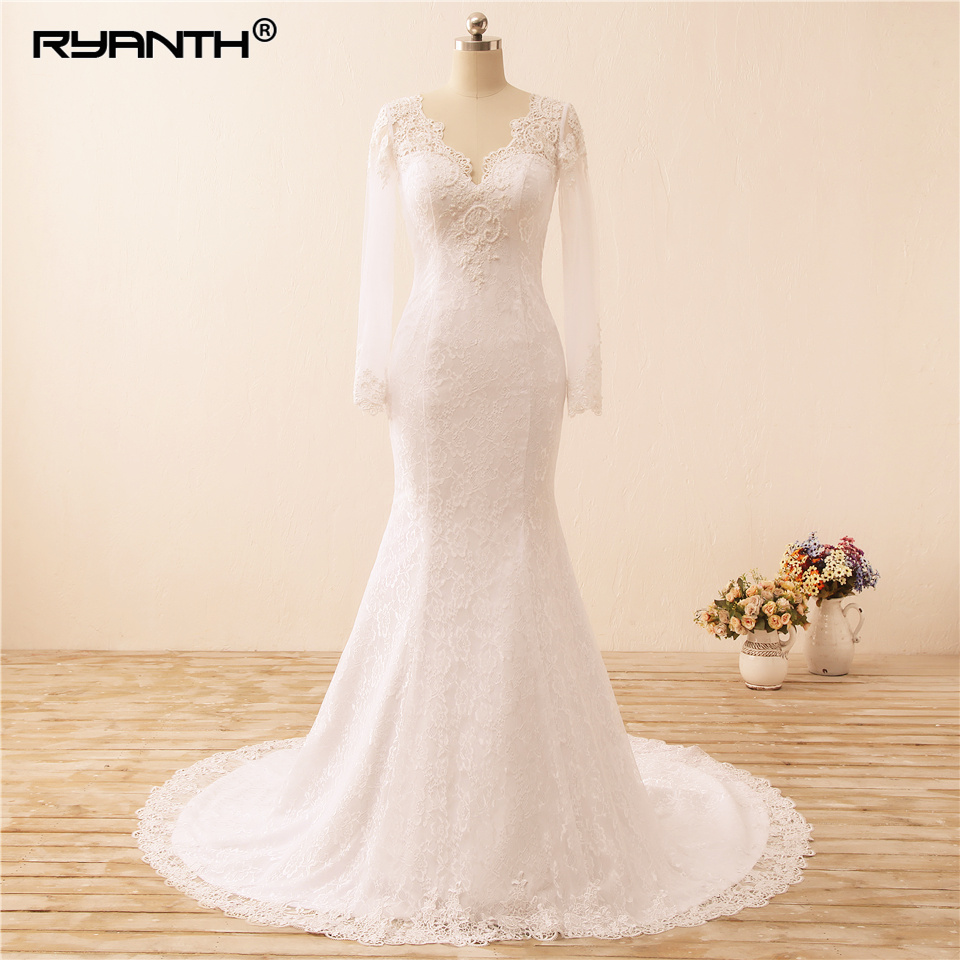 Ryanth Vestidos de Noiva Sexy Long Sleeves Lace Mermaid Wedding Dress 2019 See Through Back Pearls Wedding Gowns Robe De Mariage