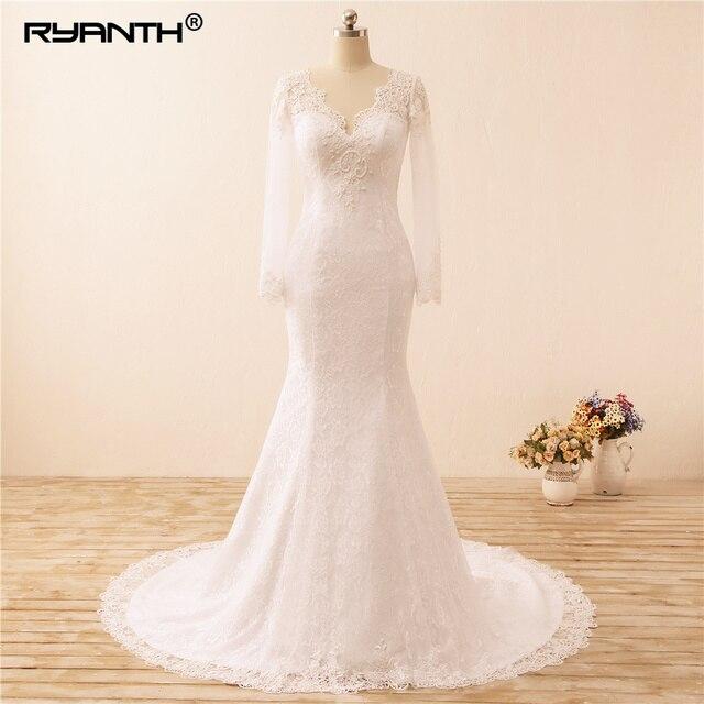 ce738f7e03b Ryanth Vestidos de Noiva Sexy Long Sleeves Lace Mermaid Wedding Dress 2019  See Through Back Pearls Wedding Gowns Robe De Mariage