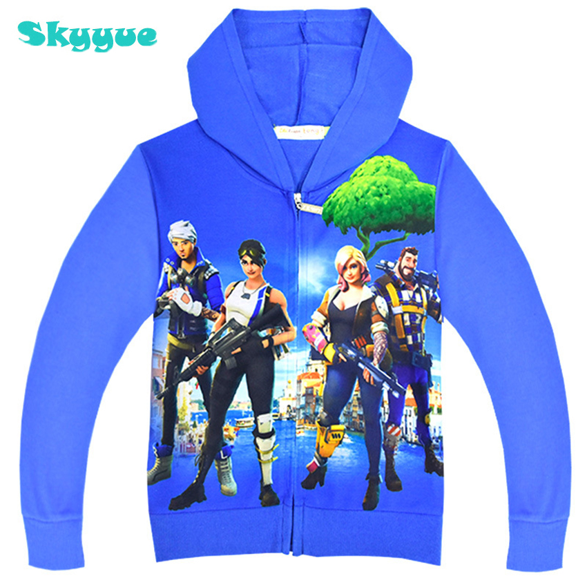 все цены на boys zipper hoodie boys cotton sweatshirts 2018 fall battle royale hoodie kids big boys sweatshirts