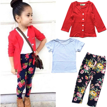 2016 New brand Autumn girls fashion clothes set girl jacket + shirt + flower pants girls 3pcs clothing set kids clothes retail