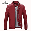 TANGNEST 2017 Spring New Design Youth Jacket Men Thin Slim PU Leather Stitching Casual Men Jacket Fashion Veste Homme MWJ2339