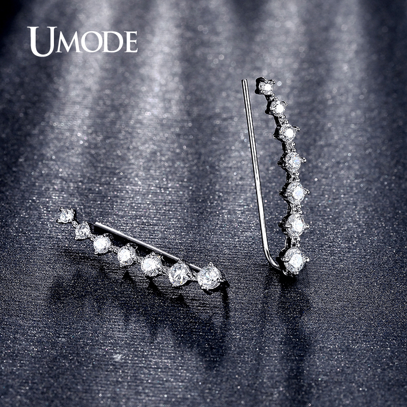 UMODE Mode Star Örhänge för kvinnor Rose Vitt Guld Lång Krok - Märkessmycken - Foto 3