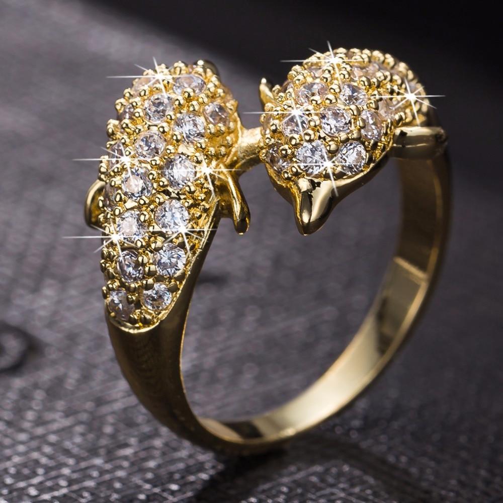kuniu brand new hot womans fine ring trendy zircon two tone gold dolphin wedding ring - Dolphin Wedding Rings