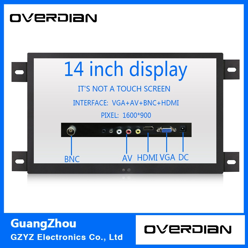 14 VGA/HDMI/BNC/AV Interface Industrial Control Lcd Non-Touch Monitor Metal Shell Black Embedded Frame1600*900 11 6 inch metal shell lcd monitor open frame industrial monitor 1366 768 lcd monitor mount with av bnc vga hdmi usb interface