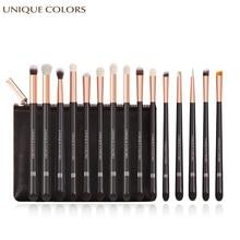 15Pcs Eyeshadow Makeup Brushes Set Pincel maquiagem pro Rose Gold Eyebrow Eyeliner Blending Soft Synthetic Hair