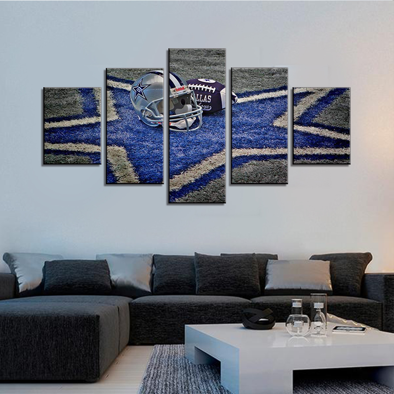 Us 18 02 48 Off Contemporary Wall Art Dallas Cowboys Nfl Prints On Canvas Painting 5 Piece Artwork Picture Living Room Posters Home Decor In