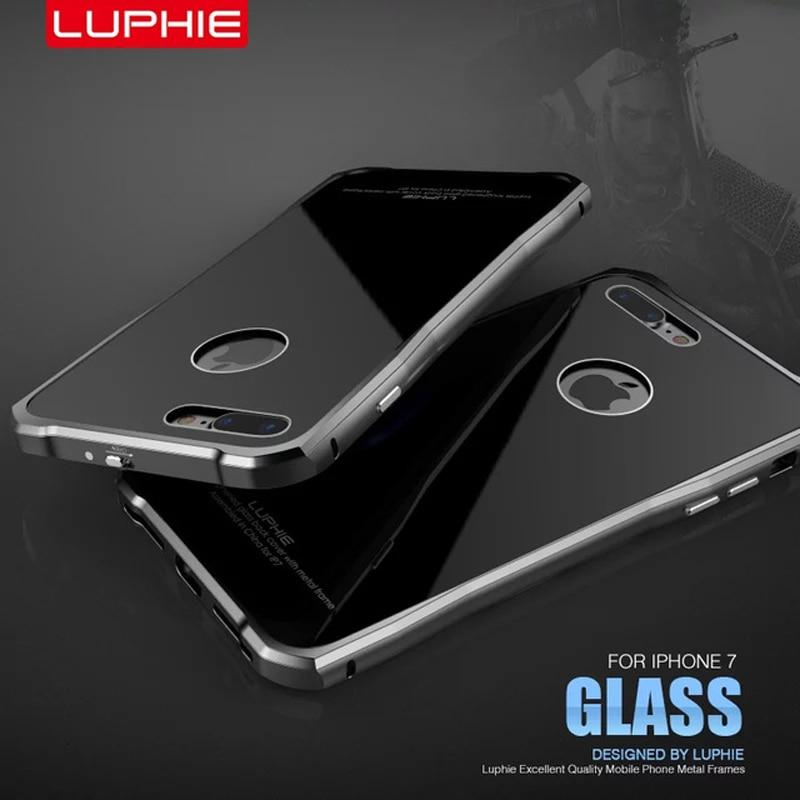 bilder für Luphie luxus aircraft aluminium metallrahmen + 9 h gehärtetem glas zurück abdeckung für iphone 7/7 plus lock-taste case