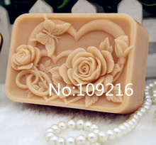 New Product!!1pcs Love Roses and Butterfly (zx192) Food Grade Silicone Handmade Soap Mold Crafts DIY Mould