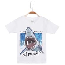 Hot Sale Boy Short Sleeve Basic White Tshirt Cotton O-Neck Funny T-Shirt Shark Printed Boys T Shirts Children Clothing Kids Tees