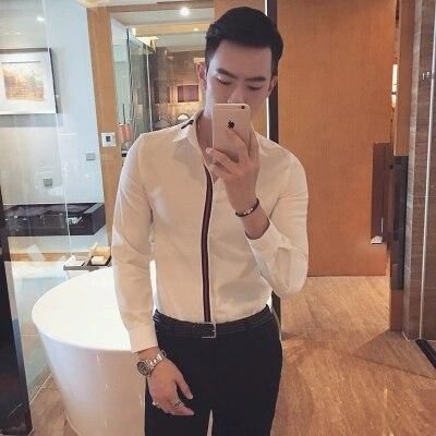 Homme À Chemises Casual Mâle Masculina Slim Longues Sociale Camisa Hommes Marque Vêtements Fit Rayé Affaires Manches Nouvelle blanc Noir Chemise wXTqBSx