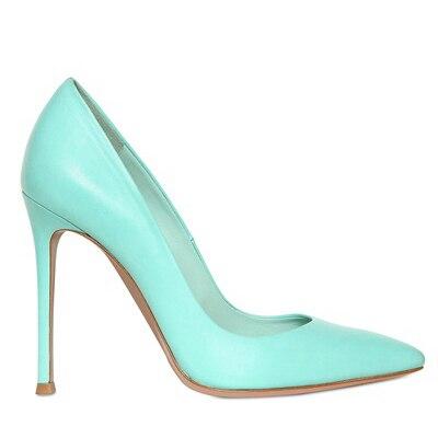 ФОТО Fashion Closed Pointed Toe Soft Leather Women Shoes Elegant Women Pumps Custom Made Thin High Heels Lady Yellow Blue