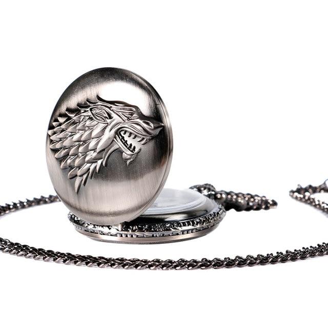 Game of Thrones Stark House Symbol Vintage Pocket Watch Necklace Direwolf Pattern Quartz Pocket Watches Gifts for Men Women 3