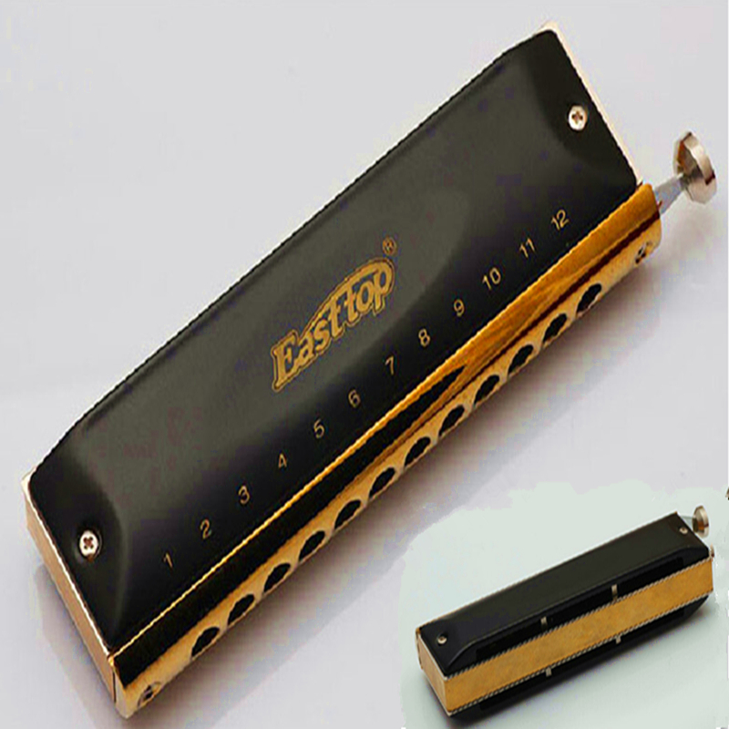 Easttop Professional Chromatic Harmonica Brass/ ABS Comb 12 Hole 48 Tone C Key Armonica gaita  Mouth Ogan music Instrumentos easttop brass chromatic harmonica 16 hole brass abs comb musical instruments mouth organ chromatic slide harmonica good sound