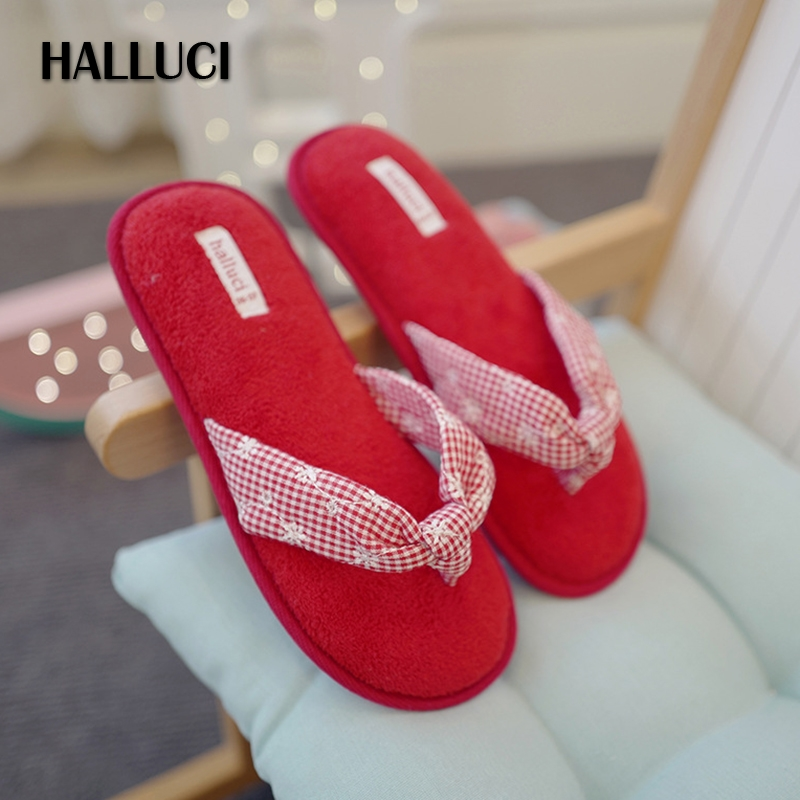 HALLUCI bow-knot breathable cotton Home slippers woman shoes summer simple indoor floor slippers flip flops women babouche halluci breathable sweet cotton candy color home slippers women shoes princess pink slides flip flops mules bedroom slippers