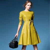 2017 Women Winter Elegant Vintage PU Leather Dress Female A Line Short Dresses Fashion Evening Party