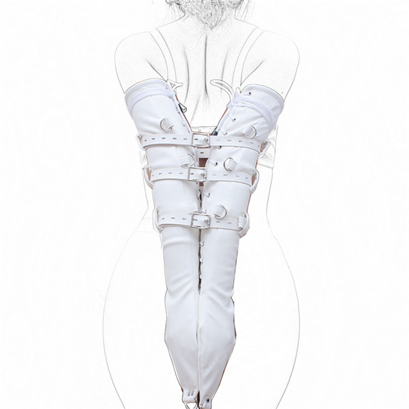 White PU Leather Body Harness Bondage Hand Sleeve Arm Binder Adult Game Slave Fetish Bondage Restraints Bdsm Sex Toy for Couples