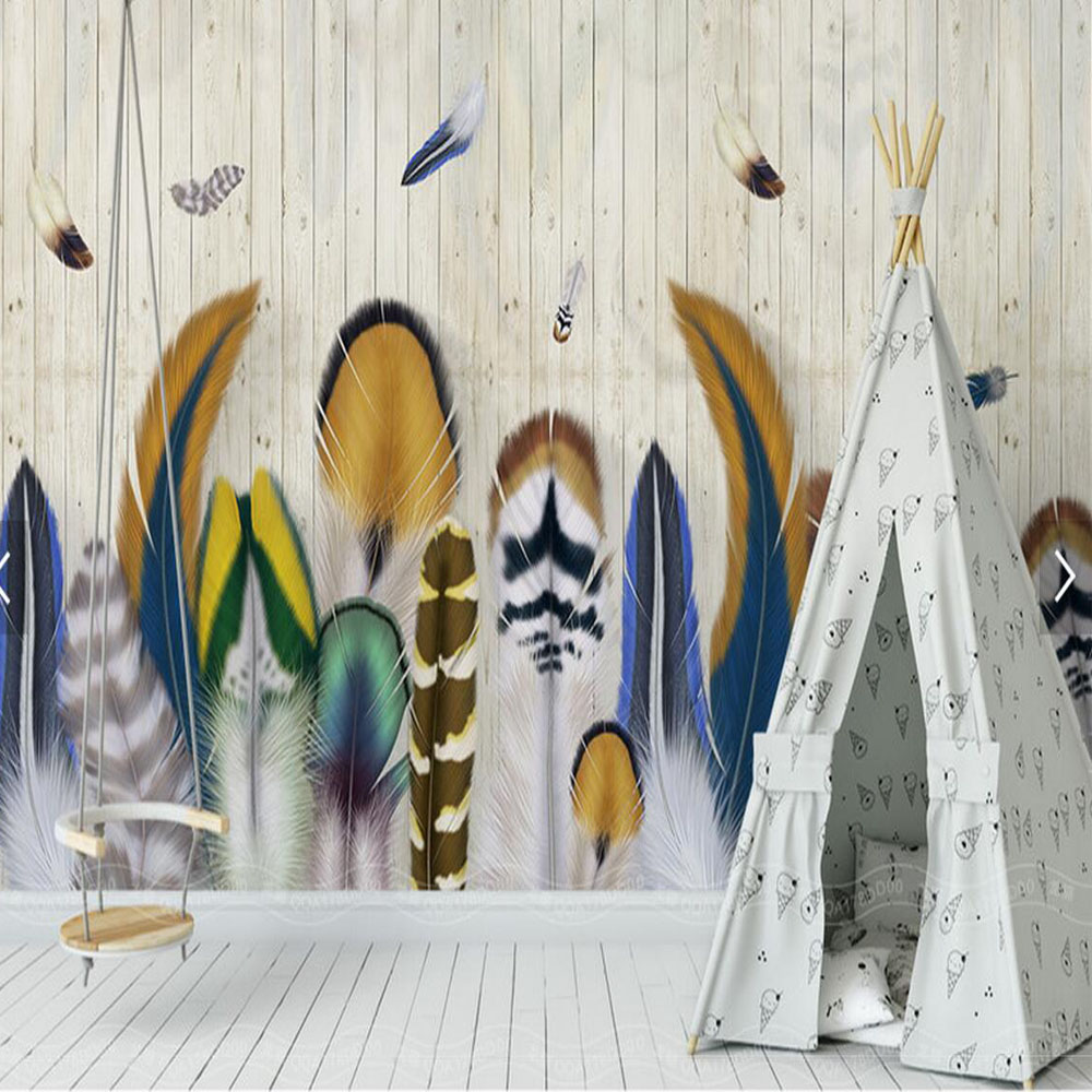 Graffiti art on wood - Colorful Feather Wood Wallpaper Striped Large Size Mural For Kids Bedroom Living Room Decorative Non Woven
