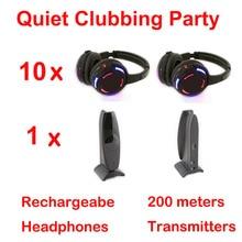 Competir sistema Silent Disco negro led auriculares inalámbricos Silencioso Clubbing Party Bundle (10 Auriculares + 2 Transmisores)