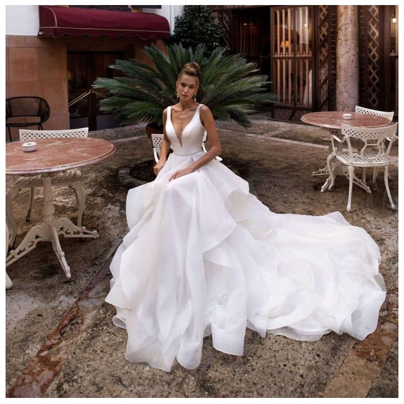 Smileven V Neck Wedding Dress 2019 Deep V Neck Sexy Bride Dresses With Long Train White Wedding Bridal Gowns