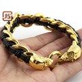 Мода мужские ювелирные изделия золотой череп браслет из нержавеющей стали 316L PU кожи плетеные засов мужские ювелирные магазины